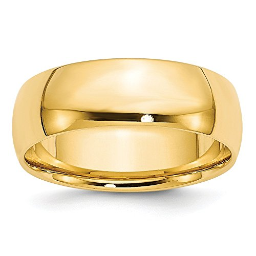 Jewelry Stores Network Solid 14k Yellow Gold 7 mm Comfort Fit Lightweight Wedding Band Ring