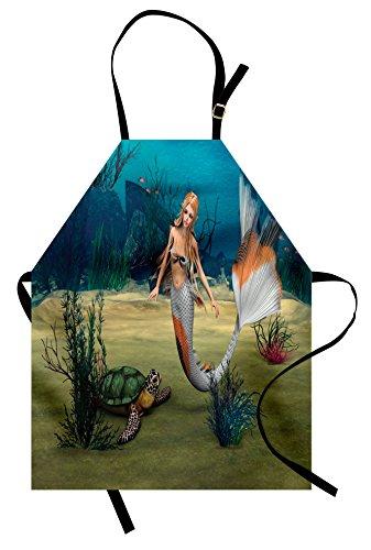 Ambesonne Mermaid Apron, Digital Render of Mermaid Turtle Fantasy World in Ocean Under The Sea Art, Unisex Kitchen Bib with Adjustable Neck for Cooking Gardening, Adult Size, Pastel Green