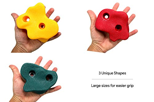 JGS 20 Premium Quality Large Rock Climbing Holds for Kids with Longer 2″ Mounting Hardware for Wood Playset Swing Set, Indoor Outdoor Climbing Wall, Children Playground (eBook Install Guide Included)