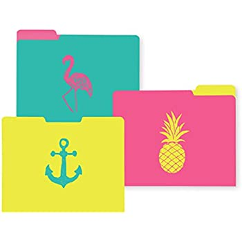 C.R. Gibson 9-Count File Folders, 3 of Each Design, 10 Adhesive Labels, Measures 11.5 x 9.5 - Coastal