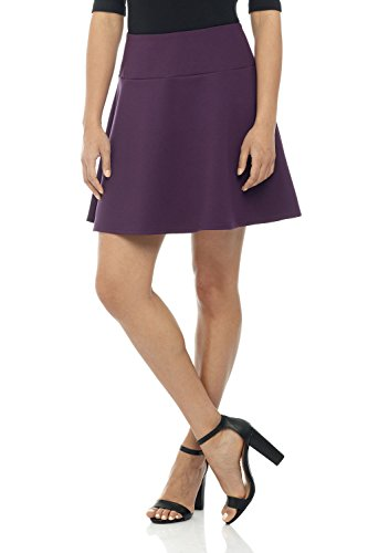 Rekucci Women's Ease in to Comfort Wide Waist Flared Flippy Skirt Luxe Ponte (Small,Deep Plum)
