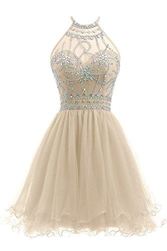 (Ellames Women's Beaded Halter Homecoming Dress Short Tulle Prom Dress Champagne US 2)