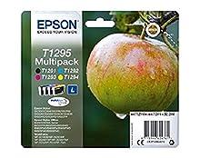 Epson T1295 - Pack de 4 cartuchos de tinta, tricolor y negro válido para los modelos WorkForce, Stylus, Stylus Office y otros, Ya disponible en Amazon Dash Replenishment