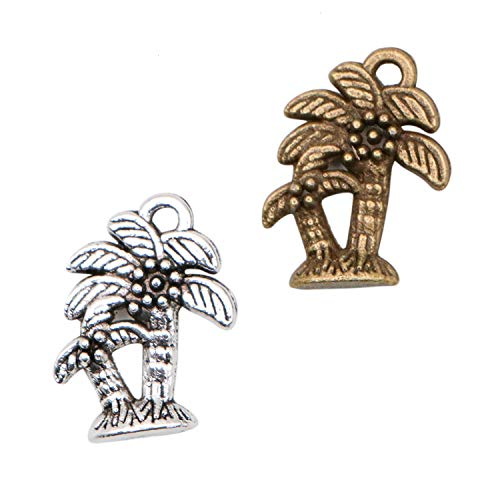 Palm Tree Charm Pendant - JETEHO 60 Pcs Palm Trees Charms Pendant for Making Bracelet and Necklace