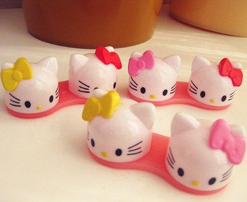 Nouveau 3D coloré Ruban Mignon Bow Plastique Cat Contactez Lens Case