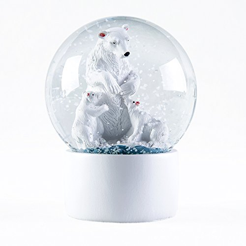 WOBAOS Snow Globe crafts- Sculptured Resin Water Ball - Christmas Valentine's day birthday holiday new year's gift (Diameter 60mm-80mm) (Diameter 80mm, Polar Bear)
