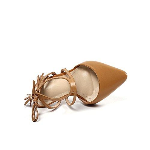 Coréenne Pointu Bout Première D'été Marron Avec Couche Sauvages Cuir De La Confortables Fines Baotou Des Sandales Nouvelle Chaussures Xiaoqi Version Bretelles zwpqAz