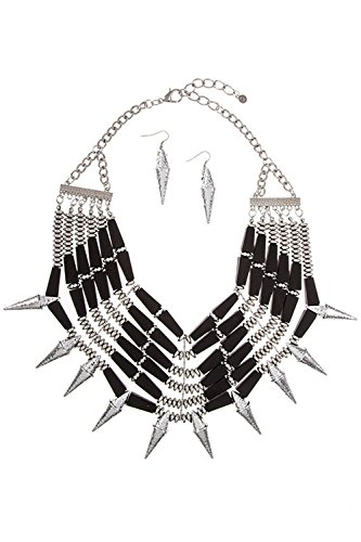 Trendy Fashion Jewelry Wood Link Cluster Hammered Spike Fringe Statement Bib Necklace S By Fashion Destination | - Destination Fashion