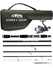 RIGGED & READY™ World Traveler. Travel Fishing Rod, Reel and Case Combination. Fishing set - 6 piece, 205cm, 6.7 ft, powerful, nano carbon rod with unbreakable tip, 5 bearing steel reel and case