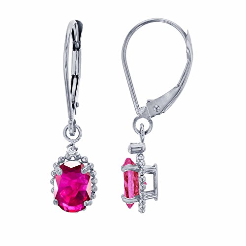 10K White Gold 1.25mm Round White Topaz & 6x4mm Oval Glass Filled Ruby Bead Frame Drop Leverback Earring Carats Ruby Sapphire Beads