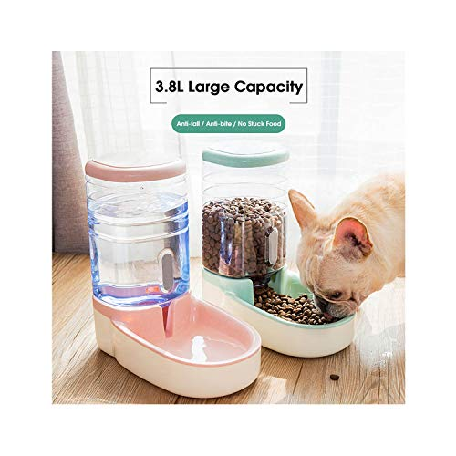 dunical 3.8L Automatic Pet Feeder Bowl for Cats Drinking Bowls for Dogs Food Container Animal Water Dispenser Cat Fountain Pet Supplies,Gray-Water n Food,3.8L