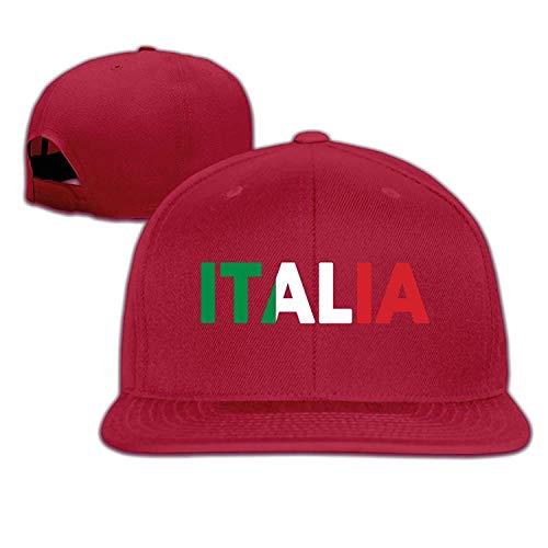 ji jing Unisex Italia Italy Italian Flag Cotton Snapback Hip Hop Flat Tongue Hats Adjustable Baseball Caps for Outdoor Sport ()