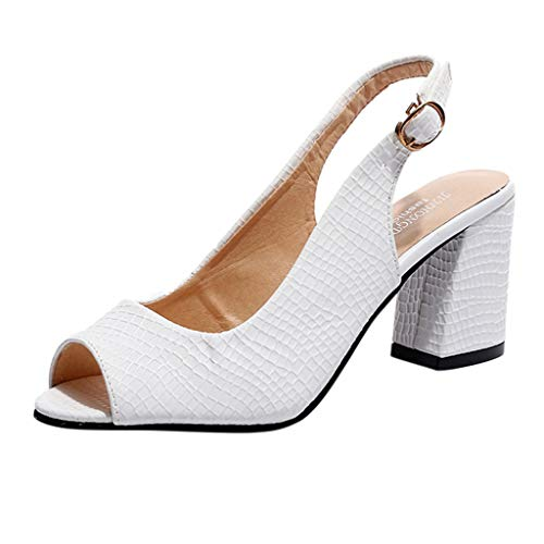 Thenxin Women's Casual Solid Shoes for Workwear High Heel Sandals Slippers for Dress Wedding Party Evening (White,6 US)