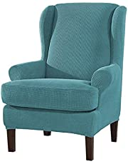 kj 2 Piece Stretch Wingback Chair Cover Jacquard Wing Chairs Slipcover with Elastic Bottom Blue One Size