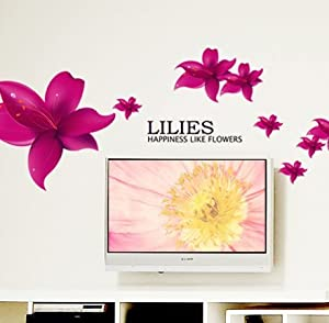 New Design Lilies Happiness Like Flowers Quote Red Lily Flowers DIY Removable Wall Decal Home Decor from New Design