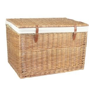 Large Light Steamed Storage Wicker Basket with White Lining by Red Hamper