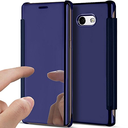 PHEZEN Galaxy J7 Prime Case, Galaxy On7 2016 Case Luxury Mirror Makeup Case Plating Clear View PU Leather Flip Folio Case Magnetic Closure Full Cover Case for Samsung Galaxy J7 Prime(Purple) by PHEZEN