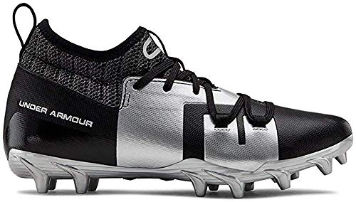 Under Armour Boys' C1N MC Jr. Football Shoe, Black (001)/Metallic Silver, 3 M US Little Kid (Under Armour C1n Mc Mens Football Cleat)
