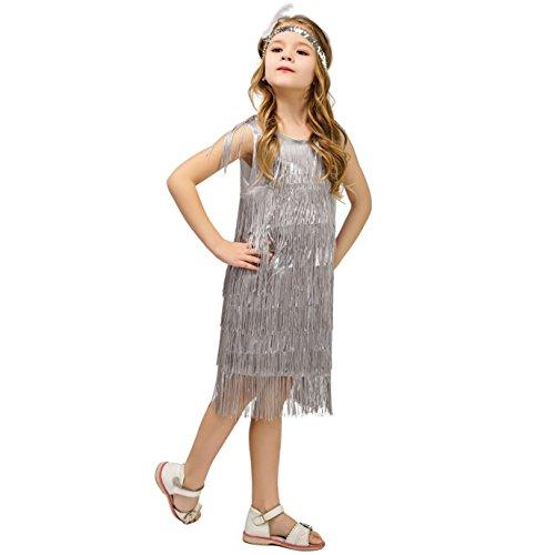 Kids Girl's Fashion Flapper Satin Dress Costume (M, Silver) ()