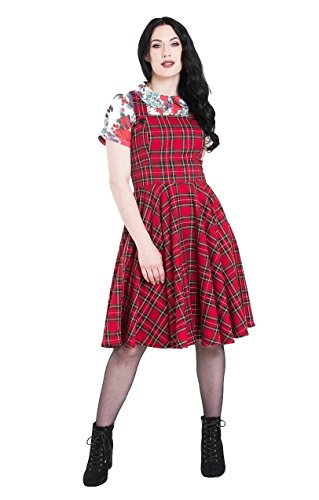 Hell Bunny Irvine Tartan Vintage Retro Pinafore Dress - Red (2XL) -