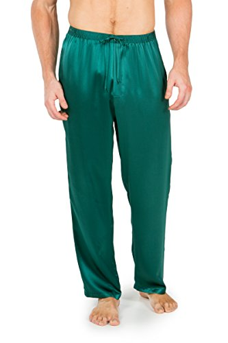 Sons Men Pants (Men's Luxury Silk Pajama Pants (Hiruko, Bayberry Green, Large) Best Gifts for Dad Brother Son MS0201-BGN-L)