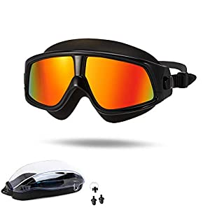 Premium Polarized Big Large Frame Swim Goggles, Swimming Goggles Anti Fog No Leaking with UV Protection and Clear Lens…
