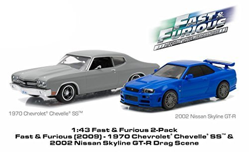 1970 Chevrolet Chevelle SS Matt Grey and 2002 Nissan Skyline GT-R Blue Drag Scene Fast and Furious Movie (2009) Diorama Set 1/43 by Greenlight 86252