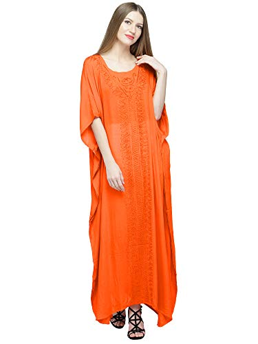 (SKAVIJ Women's Embroidered Kaftans Tunic Beach Cover Up Plus Size (One_Size, Orange))