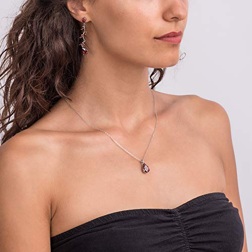 Jewelry Sets for Women: Burgundy Red or Black Crystal Teardrop Necklace and Earrings Set Costume Jewelry for Women, Wedding Party – 18K White Gold Plated Pendant and Earring Sets, Bracelet Set