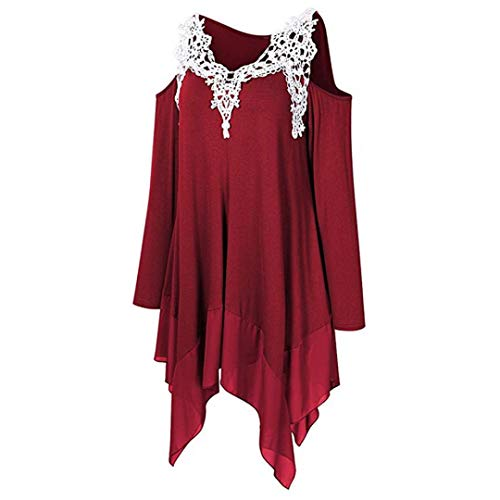 Cold Shoulder Henleys Tops, Clearance Duseedik Fashion Women Long Sleeve V-Neck Lace Appliques Strapless Shirt Top (Jersey Print Screen Classic)