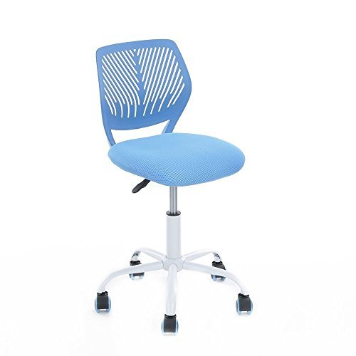 GreenForest Office Task Desk Chair Adjustable Mid Back Home Children Study Chair,Blue (White Fabric Office Chair)