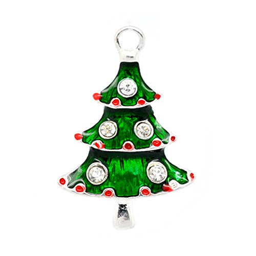 Christmas Tree Charm - Housweety 10 SP Enamel Rhinestone Christmas Tree Charm Pendants
