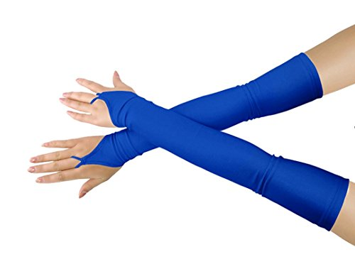 (Shinningstar Girls' Boys' Adults' Stretchy Lycra Fingerless Over Elbow Cosplay Catsuit Opera Long Gloves (Royal Blue))