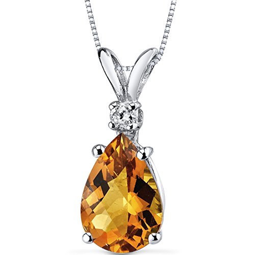 14 Karat White Gold Pear Shape 1.50 Carats Citrine Diamond (Pear Citrine Pendant)