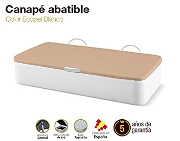 Naturconfort Canapé Abatible Tapizado Apertura Lateral Tapa 3D Ecopel Blanco 105x190cm Envio y Montaje Gratis: Amazon.es: Hogar