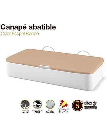 Naturconfort Canapé Abatible Tapizado Apertura Lateral Tapa 3D Ecopel Blanco 90x190cm Envio y Montaje Gratis
