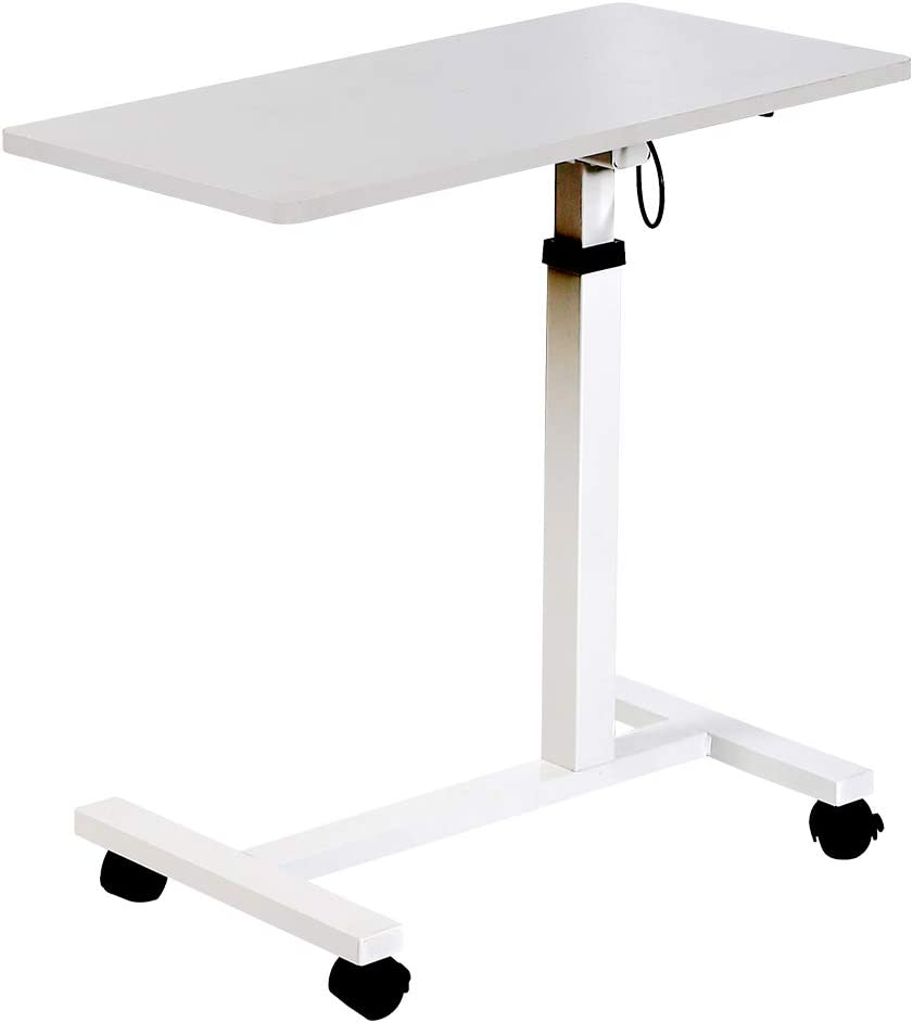 """NEWPUTE Modern Over Bed Table with Lockable Wheels, Mobile Pneumatic Height Adjustable Desk Cart for Hospital, Home, Office Use, Height Adjustable from 29"""" to 40""""H"""