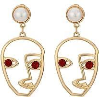 BOER INC Human Face Earrings Unique Abstract Art Dangle Stud Earring Fashion Geometric Drop Hoops Studs Earrings with...