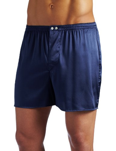 Intimo Men's Classic Stretch Silk Boxers, Navy, ()