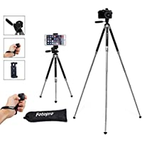 iPhone Tripod, Smartphone Tripod, Fotopro 39.5 Inch Aluminum Camera Tripod + Bluetooth Remote Control + Smartphone Clip Mount + Tripod Bag