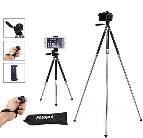 Cheap Tabletop & Travel Tripods iPhone Tripod, Smartphone Tripod, Fotopro 39.5 Inch Aluminum Camera Tripod + Bluetooth..