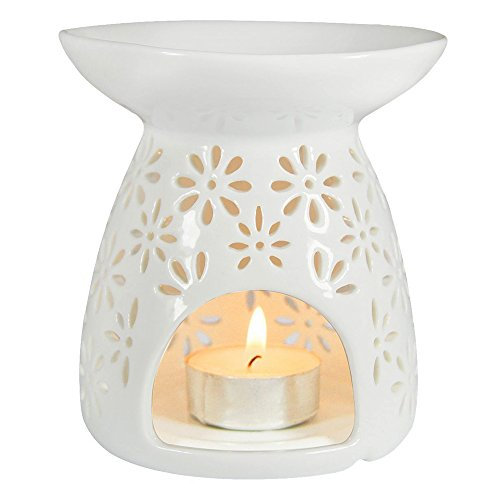 ToiM Vase Shaped Milk White Ceramic Hollowing Floral Aroma Lamp Candle Warmers Fragrance Warmer Oil Diffuser Essential Oil Lamp Aromatherapy Furnace Ceramic Incense Burner Wax Melt Warmer (White) ()