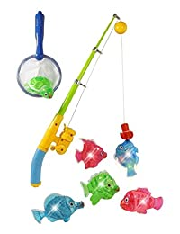 Zviku Magnetic Light Up Fishing Baby Bath Toys Set for toddlers - Includes Rod & Reel with Turtle and 5 Unique Fish BOBEBE Online Baby Store From New York to Miami and Los Angeles