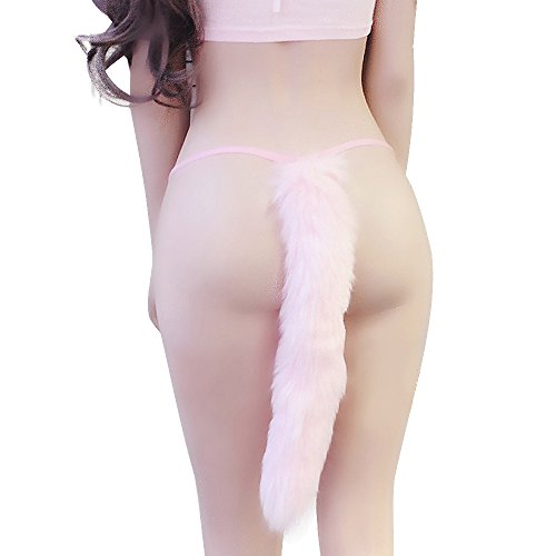 TOMORI Womens Cute Cat Cosplay Costumes Lolita Fox Tail Panties Fur G-String Plush Thong Panties (Pink) by TOMORI