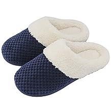 Women's Soft Gridding Coral Velvet Short Plush Lining Slip-on Memory Foam Clog Indoor Slippers