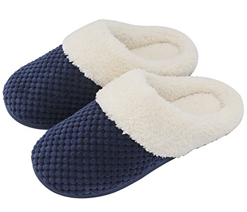 UltraIdeas Women's Soft Gridding Coral Velvet Short Plush Lining Slip-on Memory Foam Clog Indoor Slippers (Medium / 7-8 B(M) US, Navy Blue)