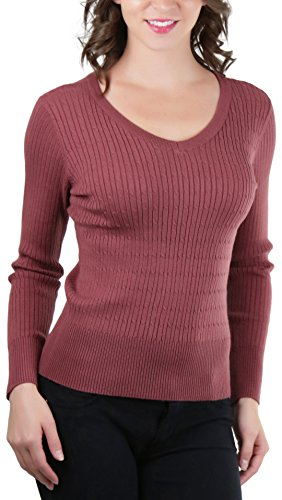 ToBeInStyle Women's L.S. Cable V-Neck Classic Sweater - Red Bean - Medium ()