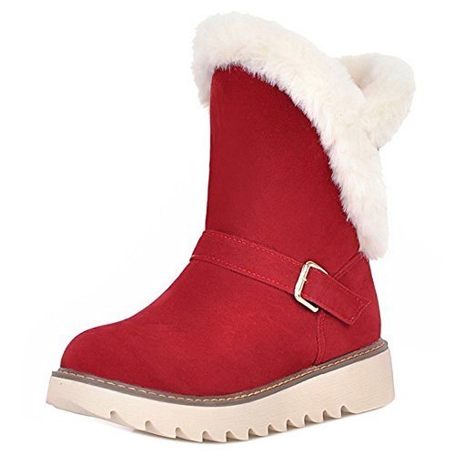 COOLCEPT Women Boots Pull On Warm Lined Red