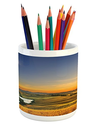 Cheap  Ambesonne Italian Pencil Pen Holder by, Magical Photo of Mediterranean Rural in..