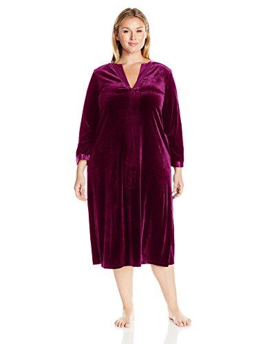 (OSCAR DE LA RENTA Pink Label Women's Plus Size Velvet Caftan, Deep Mulberry 1X)